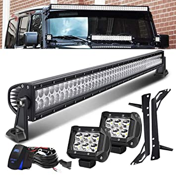 QUAKEWORLD DOT Approved 52 Inch 300W Offroad LED Light Bar + 4 Inch on