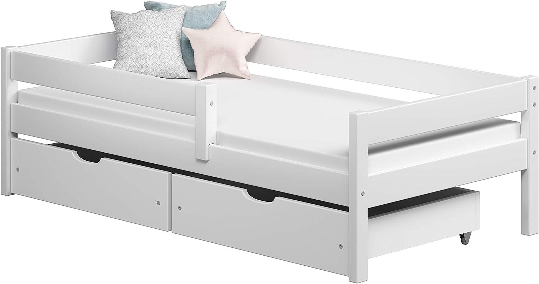 Childrens Beds Home Camas Individuales para niños Niños Niños pequeños con cajones Sin colchón Incluido… (180x90, Blanco)