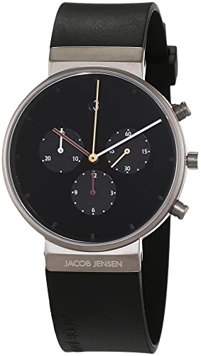 ff45aad39 Image Unavailable. Image not available for. Colour  Jacob Jensen Men s  Chronograph Quartz Watch with Rubber Strap ...