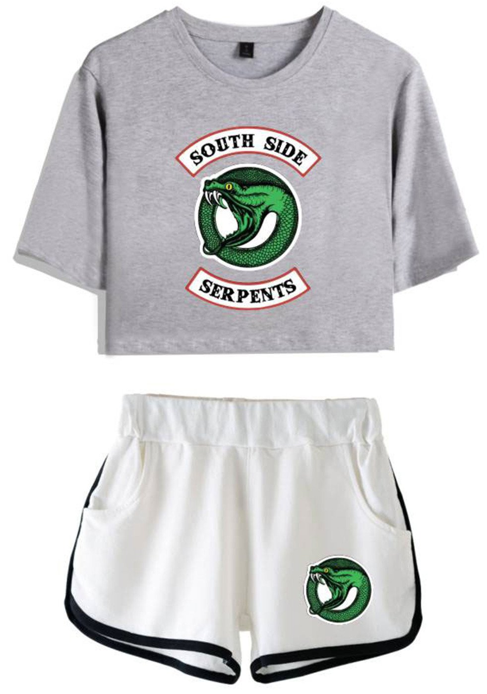 SERAPHY Riverdale Crop Top T-Shirts and Shorts Suit for Girls and Women 4890 Grey-White L