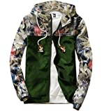 M2MO Mens Floral Long Sleeve Hooded Windbreaker Jacket