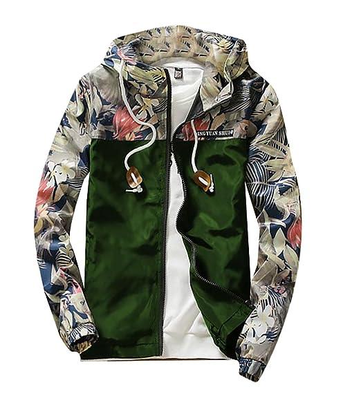 9468ccdc1 M2MO Mens Floral Long Sleeve Hooded Windbreaker Jacket at Amazon ...