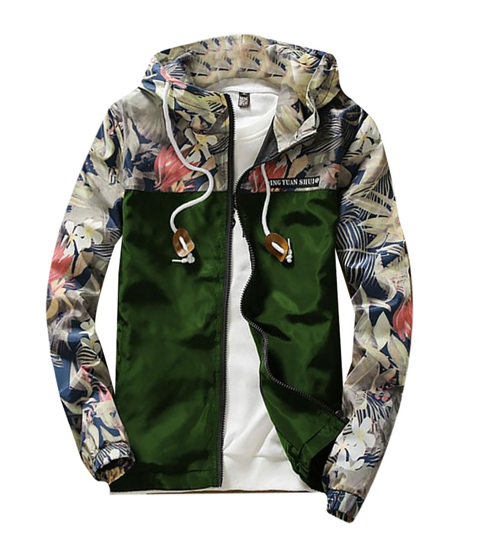 M2MO Men Casual Floral Print Full Zip Hooded Lightweight Windbreaker Jacket ArmGre US XL