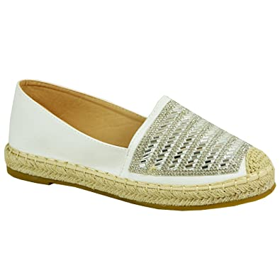 b5282414d4 Cucu Fashion Ladies Womens Slip On Espadrille Flat Ballerina Studded Shoes  Size UK