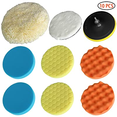 "Polishing Pads Wool Pad Kit 10Pcs 7""(180Mm) Waffle Foam Buffing Pads for Car Polisher Detail Polishing with Drill Adapter Fit for Cars, Van, Glass, Stone, Ceramic Wood Plastic Glass Etc.: Automotive"