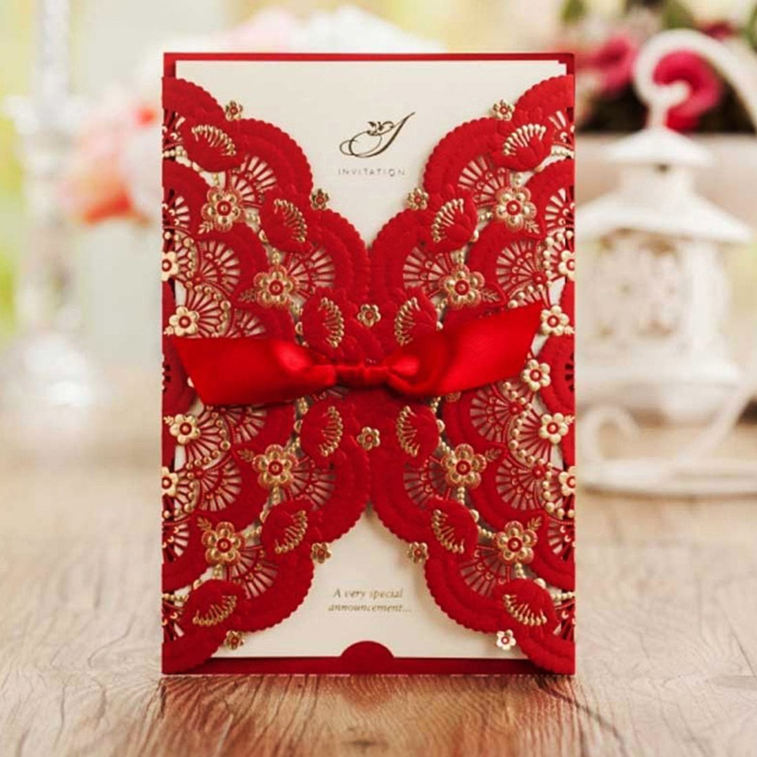 Amazon.com: Wishmade 50 Pieces Red Laser Cut Wedding Invitations ...