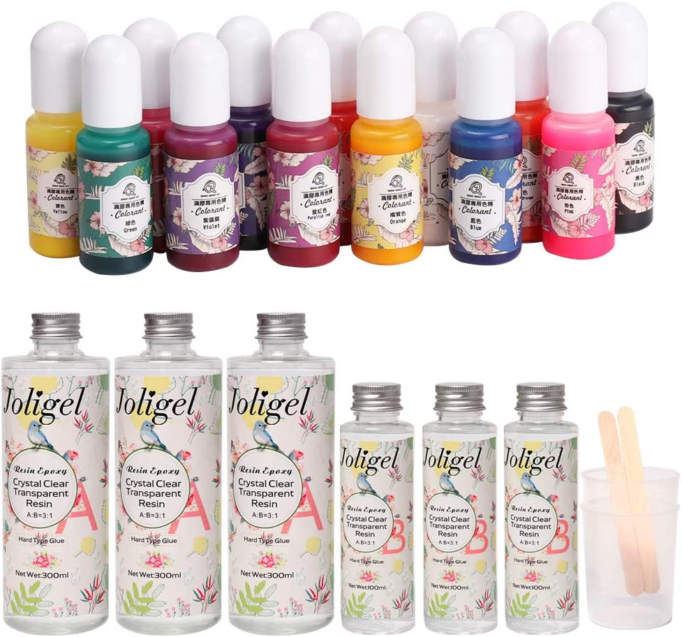 2 Stir Bars 2 Mixing Cups Resin Kit for Art Craft Kids Jewellery Making 50 Orange Sticks for Free Joligel Two Part Resin Glue A+B AB Epoxy Resin Transparent Crystal Clear 13 Colour Pigments