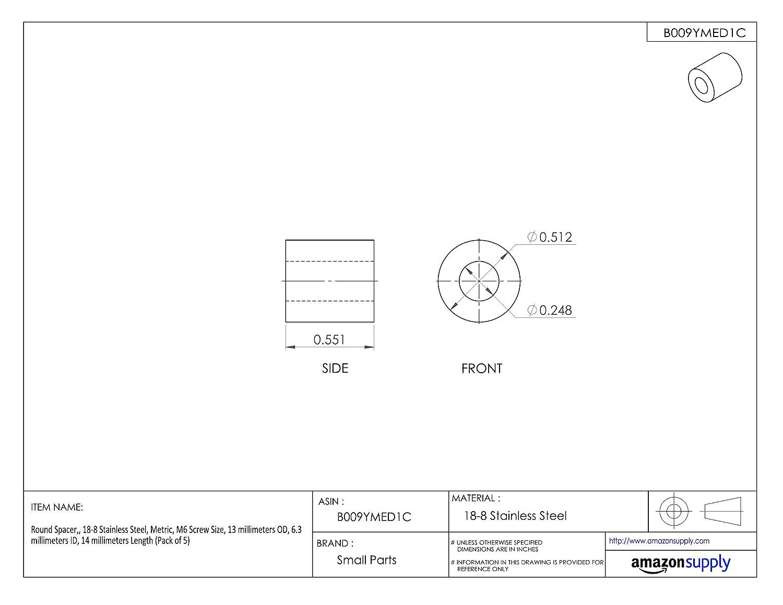 Pack of 10 8 millimeters Length 18-8 Stainless Steel 6 millimeters OD Metric 3.2 millimeters ID Lyn-Tron M3 Screw Size