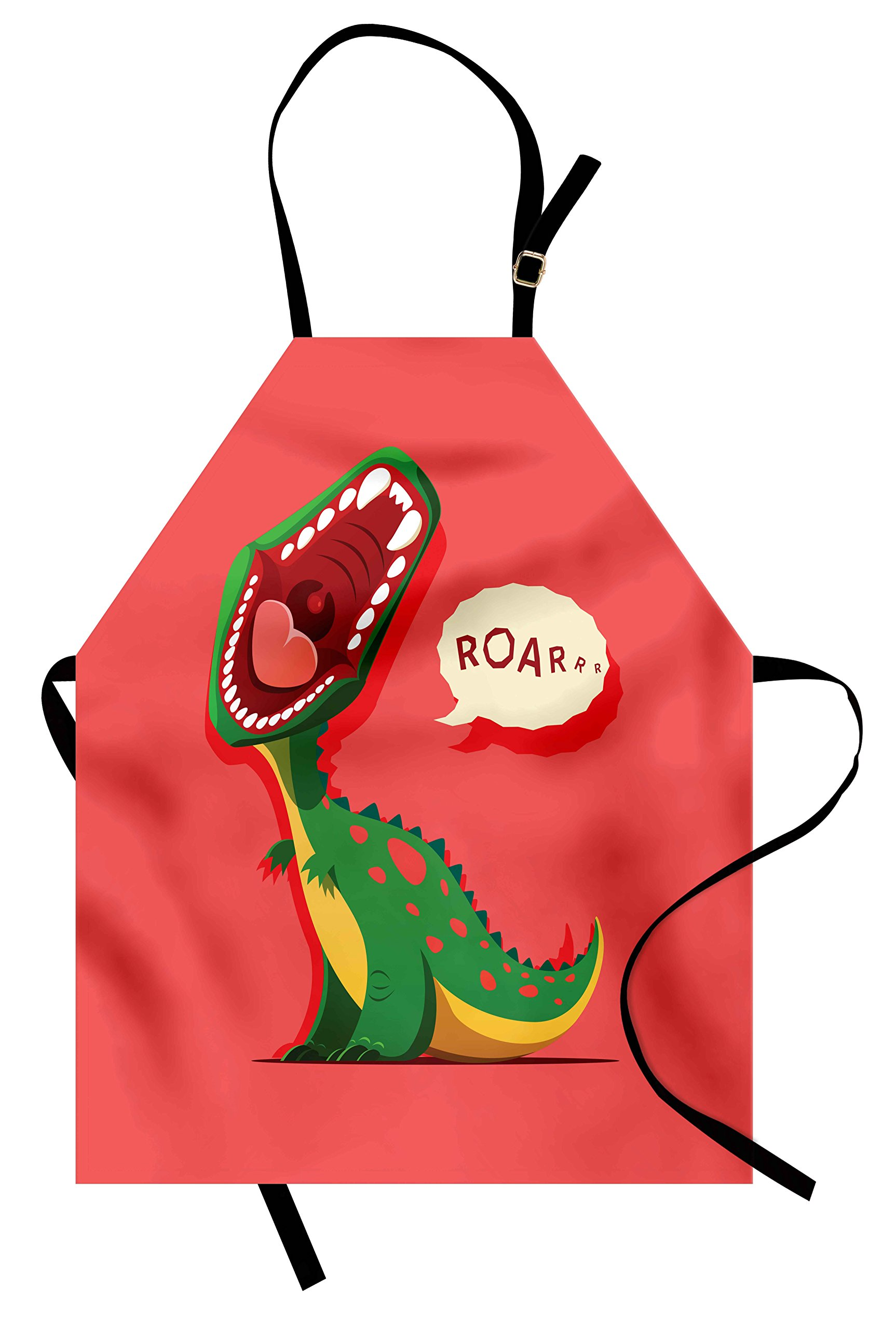 Ambesonne Dinosaur Apron, Aggressive Prehistoric Cartoon Animal Roaring Open Mouth Wildlife Image, Unisex Kitchen Bib Apron with Adjustable Neck for Cooking Baking Gardening, Coral Green Yellow