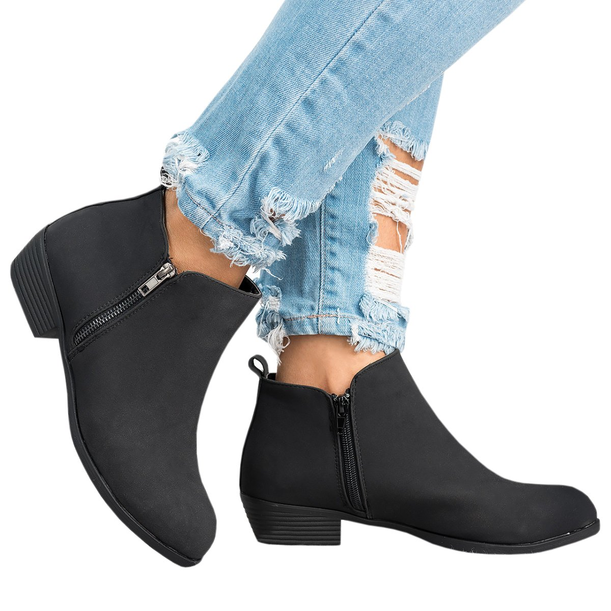 Amazon.com  Womens Ankle Boots Chunky Low Stacked Heel Side Zip Basel  Booties  Clothing 584ec8666