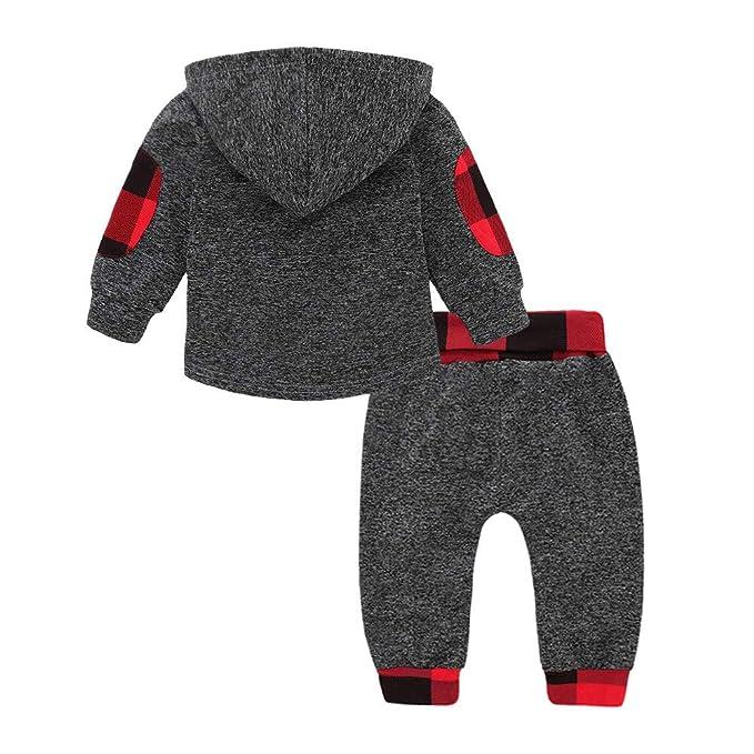 LANSKIRT Conjunto de Recién Nacido Infantil bebé niños niñas Plaid de Manga Larga de Ropa de Trajes Tops + Pantalones Invierno 2PC: Amazon.es: Ropa y ...