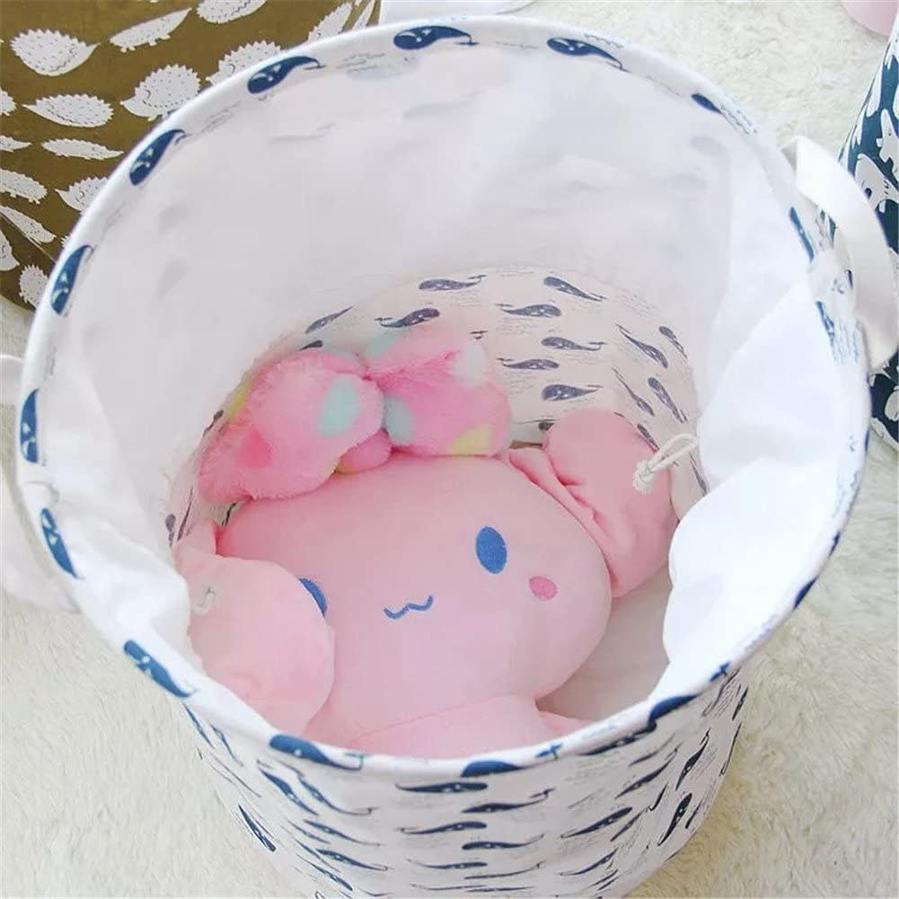 Toy Organizer Basket Migaoeco Foldable Large Cylindric Canvas Fabric Storage Bin Storage Basket Organizer Laundry Hamper Reusable Space Saver Bags 35cm*45cm Forest