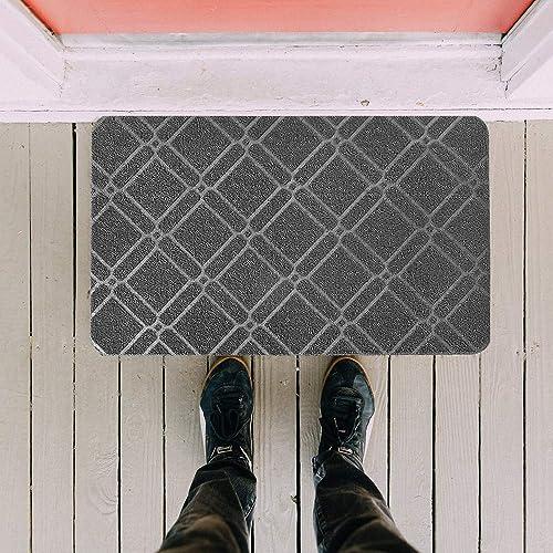 HAVARGO Front Door Mat Outdoor Indoor Entrance, 18×30, Plain Rubber Loop Doormat Durable Low-Profile Shoes Scraper Mat 2 Piece Grey
