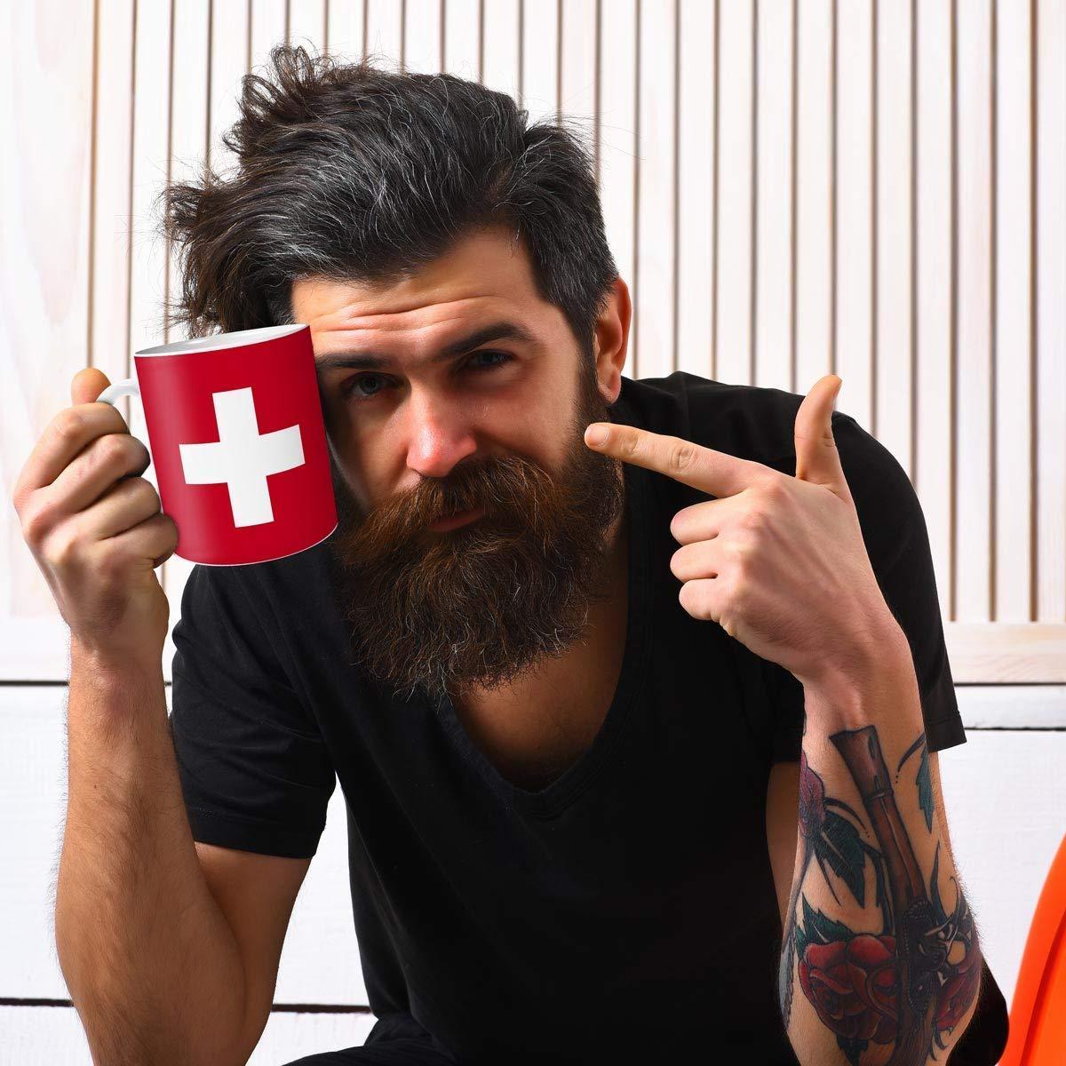 Geschenk Tasse mit Flagge Schweiz L/änder Flaggen Geburtstagsgeschenk Souvenir Suisse f/ür Reiseliebhaber Frauen M/änner
