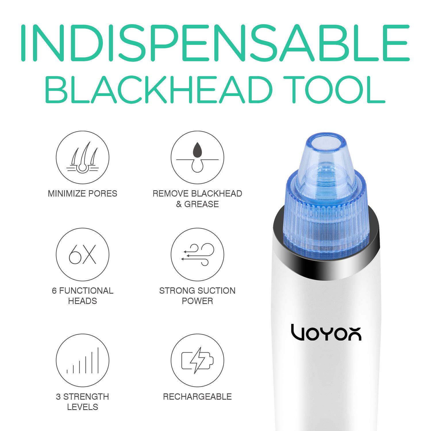 VOYOR Blackhead Remover Vacuum Suction Facial Pore Cleaner Electric Acne Comedone Extractor Kit with 6 Suction Head for Women and Men Black Heads Extraction BR410: Beauty