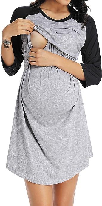 Ritera Damen Umstandsnachthemd//Still-Nachthemd Kurzarm Midi Spitze V-Ausschnitt Umstandskleid Schwangerschafts Kleid,EU36-42