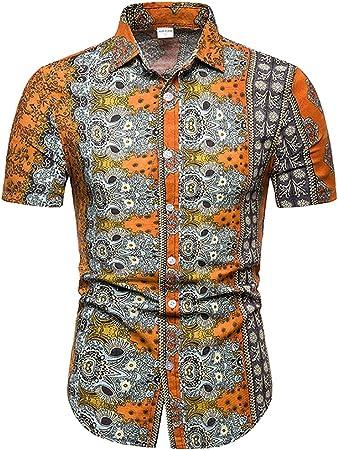 W&TT Botón de los Hombres Abajo Camisa de Manga Corta Vintage Floral Vestido Camisas,Orange,2XL: Amazon.es: Hogar