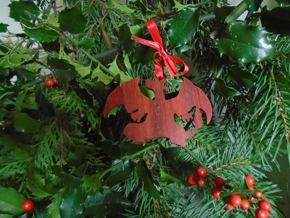 Christmas Ornament Our First Home Ornament with Last Name and Address Made From African Padauk Wood First Home Gift