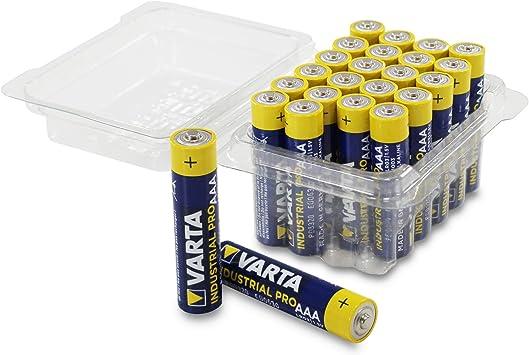 Varta - Pilas alcalinas AAA Micro alcalinas LR03, Fabricadas en Alemania, en práctica Caja de Pilas de Weis – More Power +, Caja de 24 Unidades: Amazon.es: Electrónica