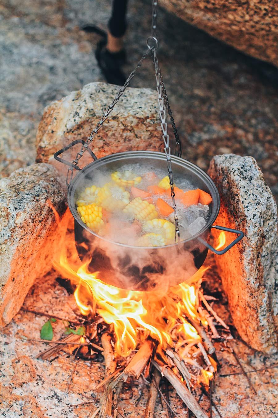 Keith Camping Wandern Picknick Kochgeschirr Topf Lagerfeuer Kochtopf Aufh/ängen Titan Topf 2.5L 350/g