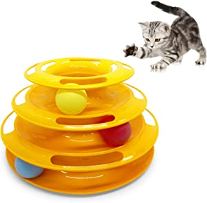 Pet Craft Supply Interactive Cat & Kitten Three Layer Colorful Track Ball Tower Fun Mental Stimulation Physical Exercise Puzzle Cat Toys