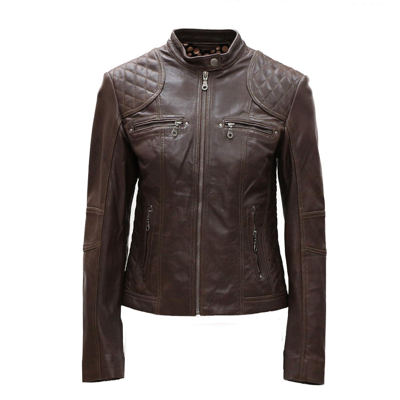 PAUL BERMAN Pelle D'annata Ladies Real Leather Black Brown Biker Jacket Size 8 to 18