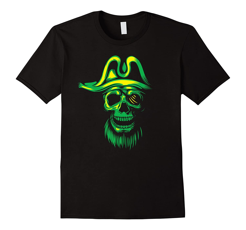 Green Neon Pirate Skull Halloween T-Shirt-FL