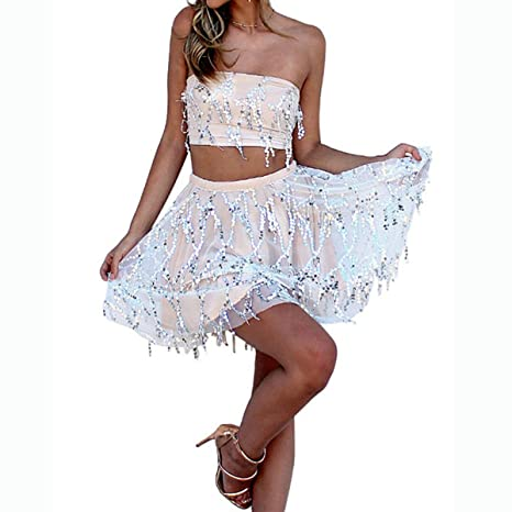 630ac62bdaccf9 Womens Sequins Outfit Summer Two Piece Suits Tie Tube Crop Top + Mini Skirt  Set (Color   Apricot