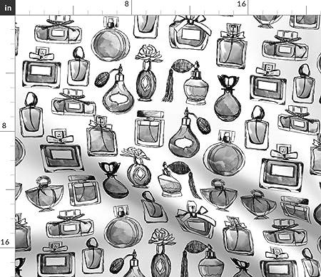 Vintage Tela Diseño de Watercolor escala de grises vintage de botes de Perfume de perfume Vintage