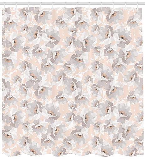 Crema cortina de ducha por lunarable, patrón con AD de flores silvestres rosas suave paleta