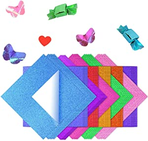 Fyess 100 Sheets 25cm Shiny Rainbow Origami Paper, Square Origami Paper Sparkly Paper for DIY Puncher Gift Box Wrapping Birthday Party Decor Scrapbook 10 Color