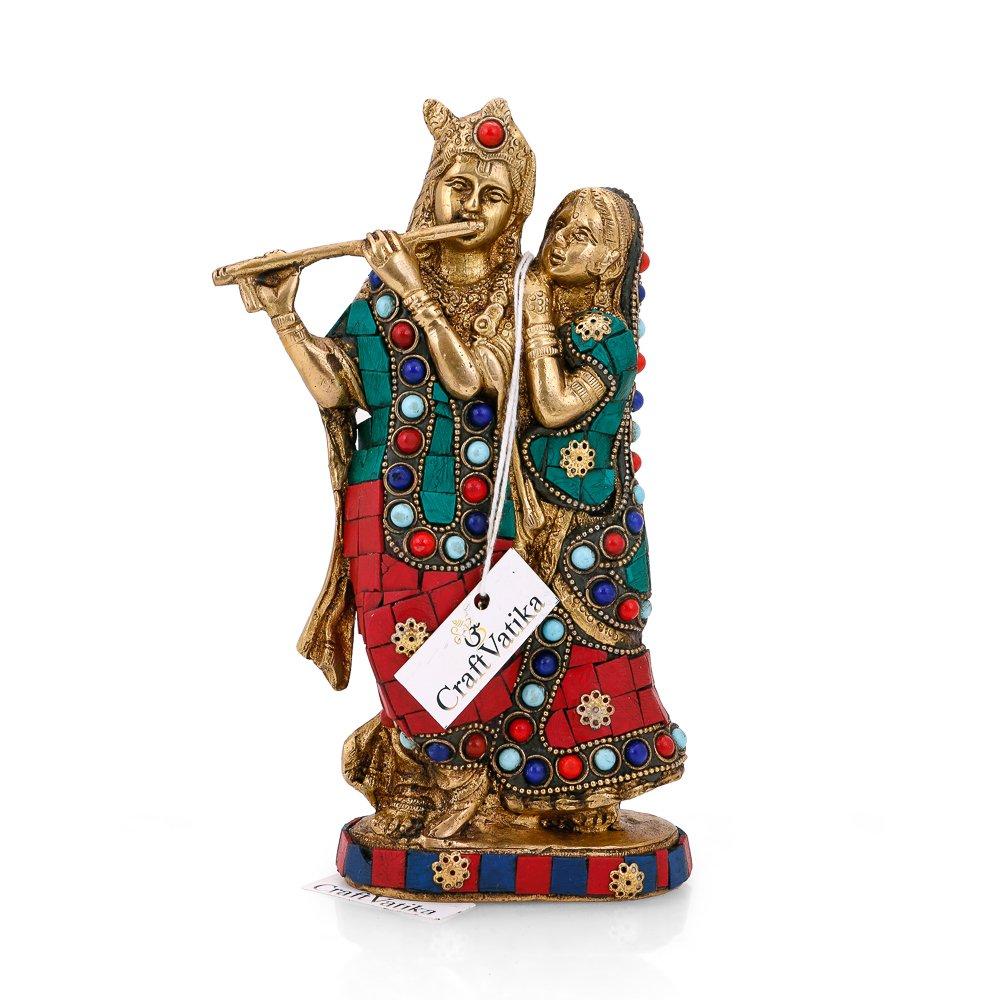 CraftVatika Brass Radha Krishna Statue Beautiful Hindu Divine Love Couple Sculpture Home Décor Gift