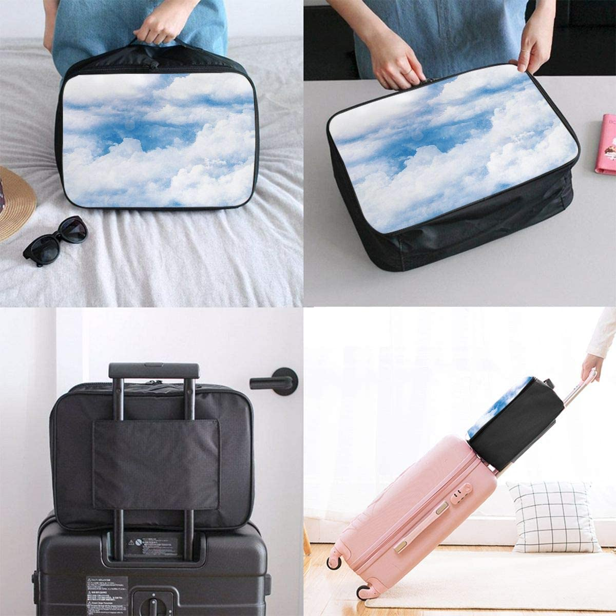 Cloud-sky Travel Carry-on Luggage Weekender Bag Overnight Tote Flight Duffel In Trolley Handle