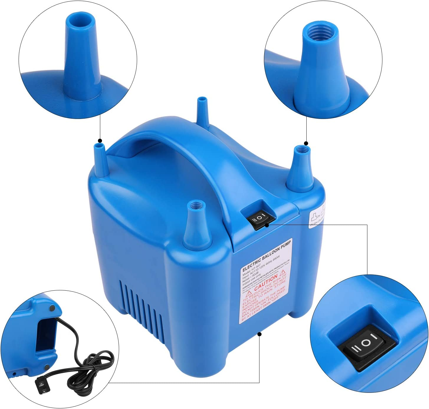 Portable Dual Nozzle Inflator Blower with Built-in Motor Advanced Wire Storage for Kids Children Birthday Party Wedding Sports Holiday Festival Decoration Flexzion Electric Air Balloon Pump
