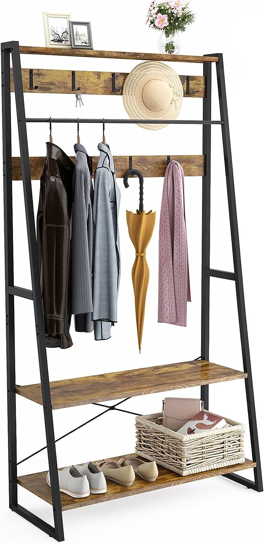Besiture Hall Tree with Storage Bench, Industrial Entryway Coat Rack 2-in-1 Garment Rack with Shelves, Clothes Rack Coat Shoe Rack with Shoe Clothing Storage Organizer Shelf, Rustic Brown