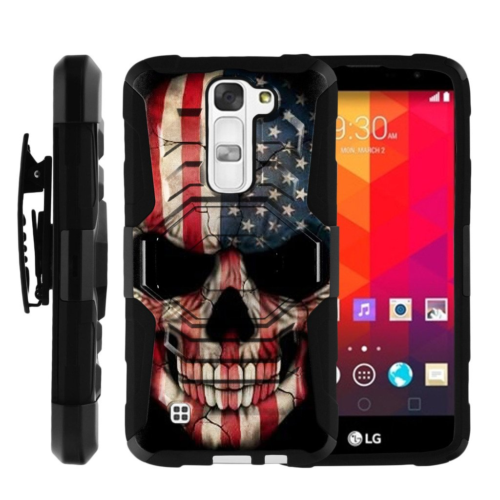 TurtleArmor | Compatible for LG K8 Case | LG Escape 3 | LG Phoenix 2 [Octo Guard] Dual Layer Case Holster Belt Clip Sturdy Kickstand Cover - US Flag Skull