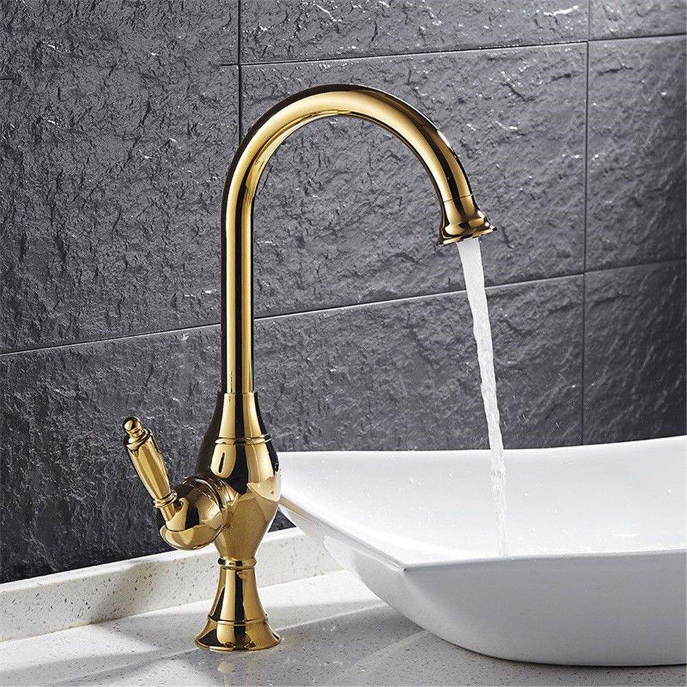 ANNTYE Waschtischarmatur Bad Mischbatterie Badarmatur Waschbecken Messing Warmes und kaltes Wasser Ventil 360° schwenken 1 Bohrung Gold Einzelne Hebel Badezimmer Waschtischmischer