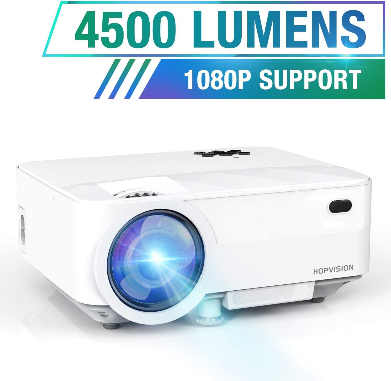 HOPVISION Mini Proyector 1080P Full HD,Proyector Portátil de 4500 Lúmenes con Pantalla Máx de 180