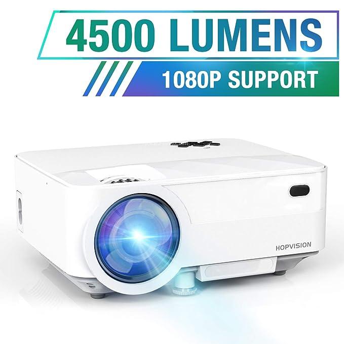 "HOPVISION Mini Proyector 1080P Full HD,Proyector Portátil de 4500 Lúmenes con Pantalla Máx de 180"",Proyector LED de 60000 Horas,Proyector Cine en Casa Compatible con HDMI/AV/USB/SD/VGA"