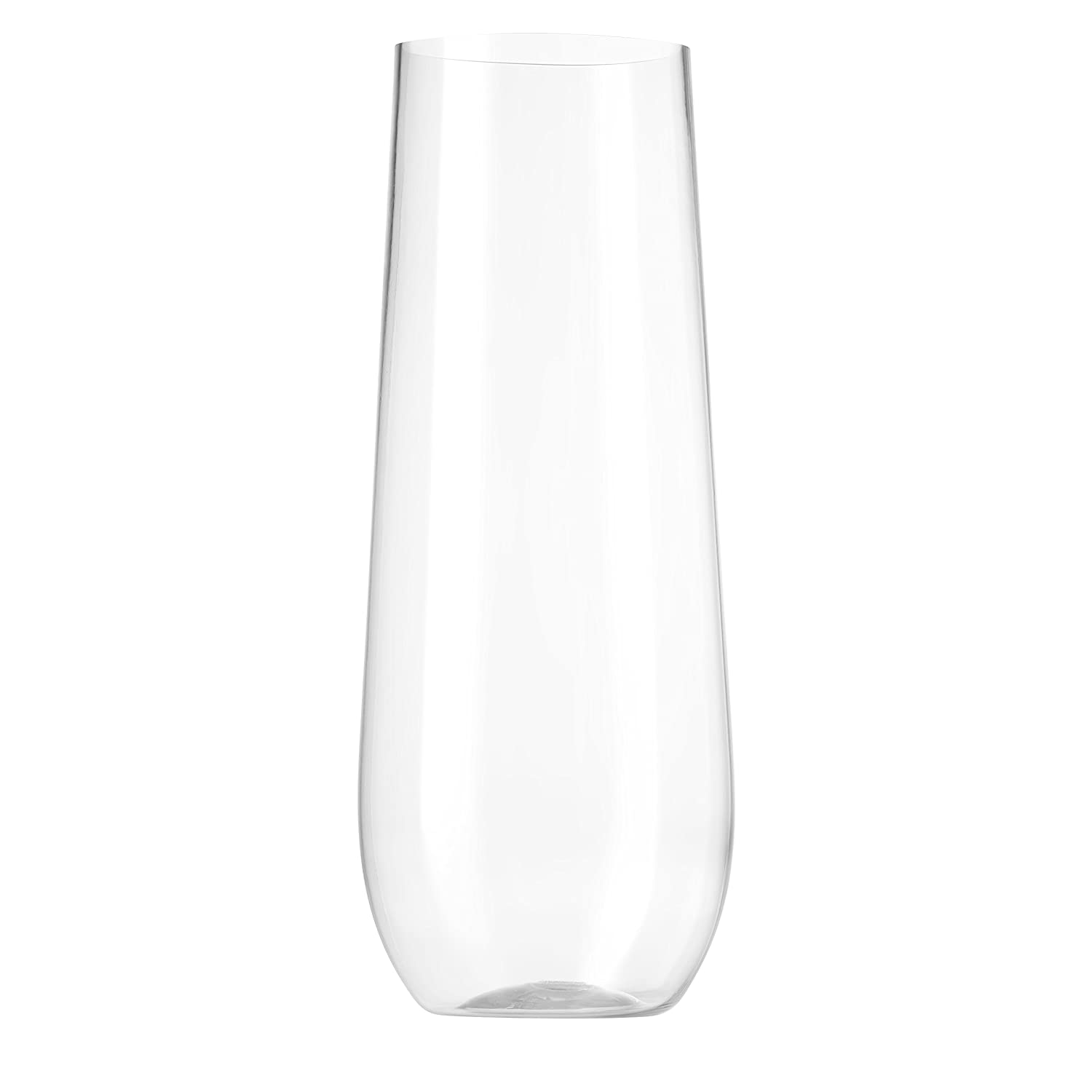 Munfix 24 Pack Stemless Plastic Champagne Flutes Disposable 9 Oz Clear Plastic Toasting Glasses Shatterproof Recyclable