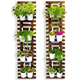 Wall Planter - 2 Pack, Wooden Hanging Large Planters for Indoor Outdoor Plants, Live Vertical Garden, Plant Wall, Wall Mount