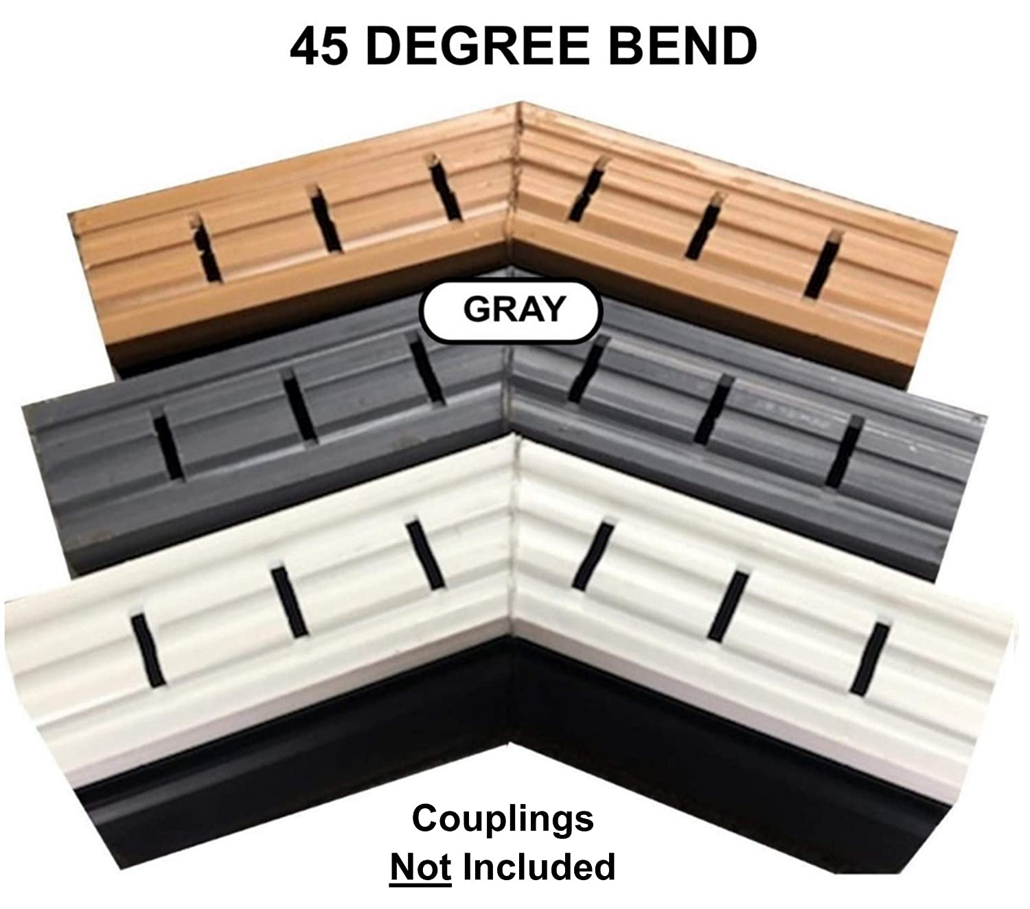 Easy to Install 5 Foot Length, Gray Inside couplings Included 40 Feet Deck Drain Total Using 5 ft Sections x 8 Deck drains