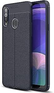 Microsonic 21873 Samsung Galaxy A20s Kılıf Deri Dokulu Silikon Lacivert