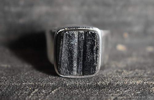 Electroformed Copper Copper Ring Zodiac Ring Rough Stone Ring Gemstone Ring Raw Tourmaline Ring Boho Ring Raw Black Tourmaline