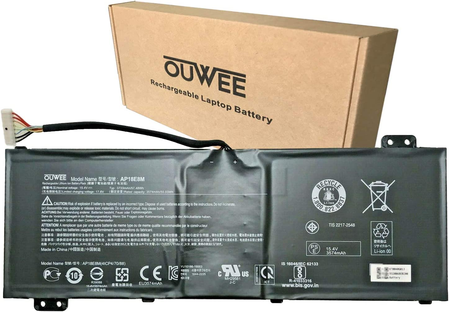 OUWEE AP18E8M Laptop Battery Compatible with Acer Nitro 5 AN517-52 Aspire 7 A715-74 A715-74G ConceptD 3 Pro CN315-71P CN315-71P-73W1 ConceptD 5 Pro CN515-71P Series 4ICP4/70/88 15.4V 57.48Wh 3733mAh