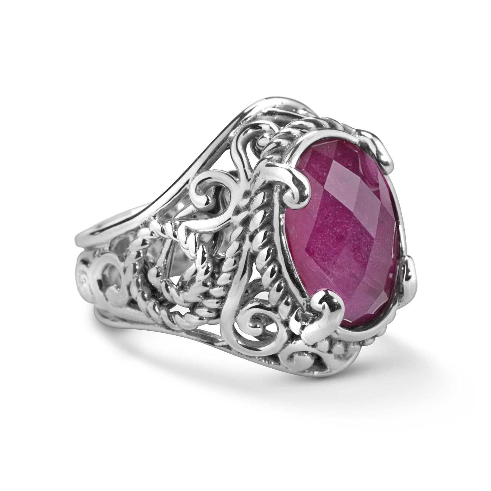 CP Signature Sterling Silver and Ruby Doublet Bold Ring