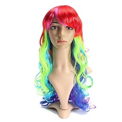 Bluelover 60 Cm Multicolor Mixto Color Ondulado Rizado Pelucas Mujeres Peluca Cosplay