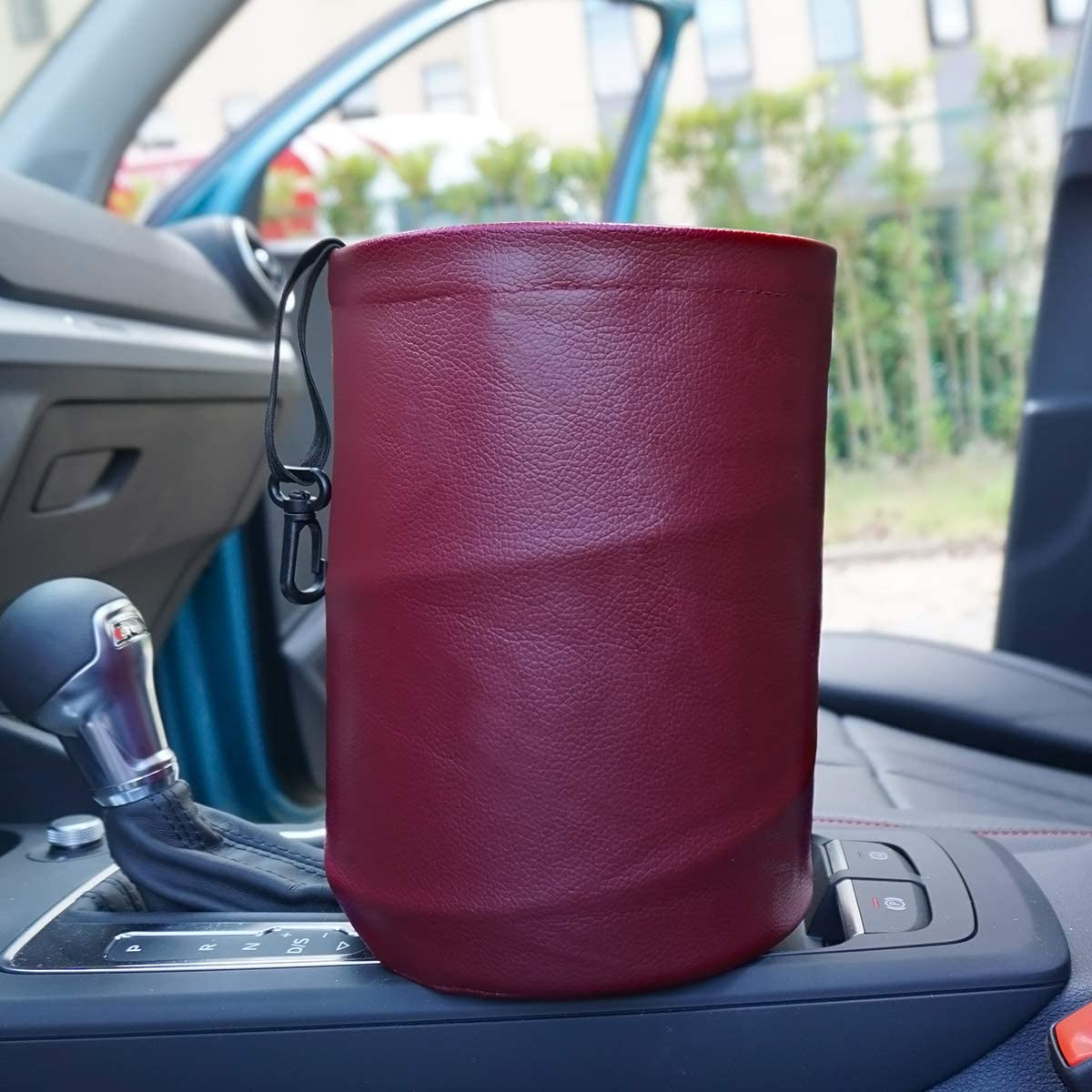 RED Rubbish Bin AMO Multifunctional Folding car Trash can,Double Waterproof Leather Car Garbage Can Organizer,Waste Baskets