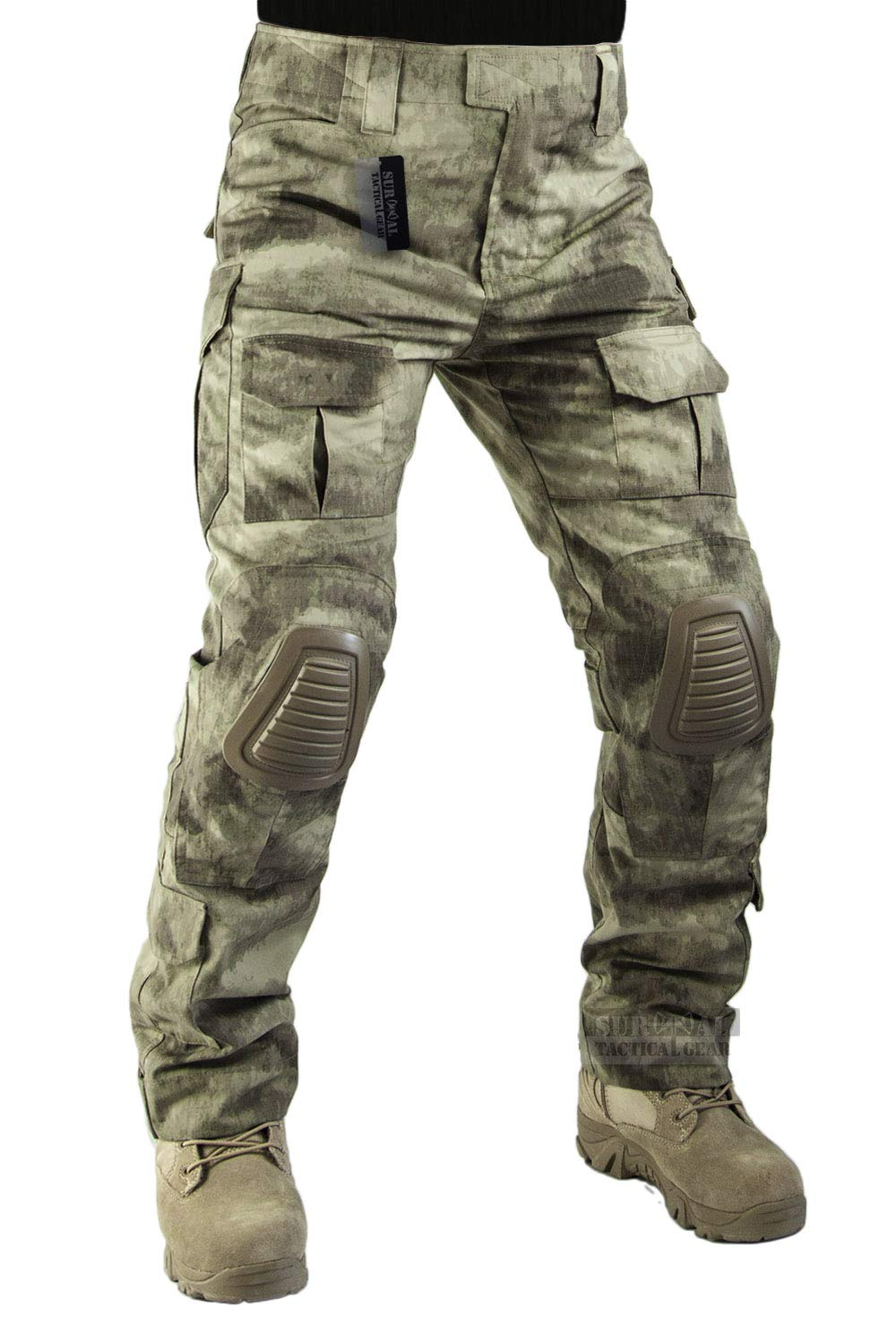ZAPT Tactical Pants with Knee Pads Airsoft Hunting BDU Combat Pant Army Camo Military Trousers(AU Camo, S32)