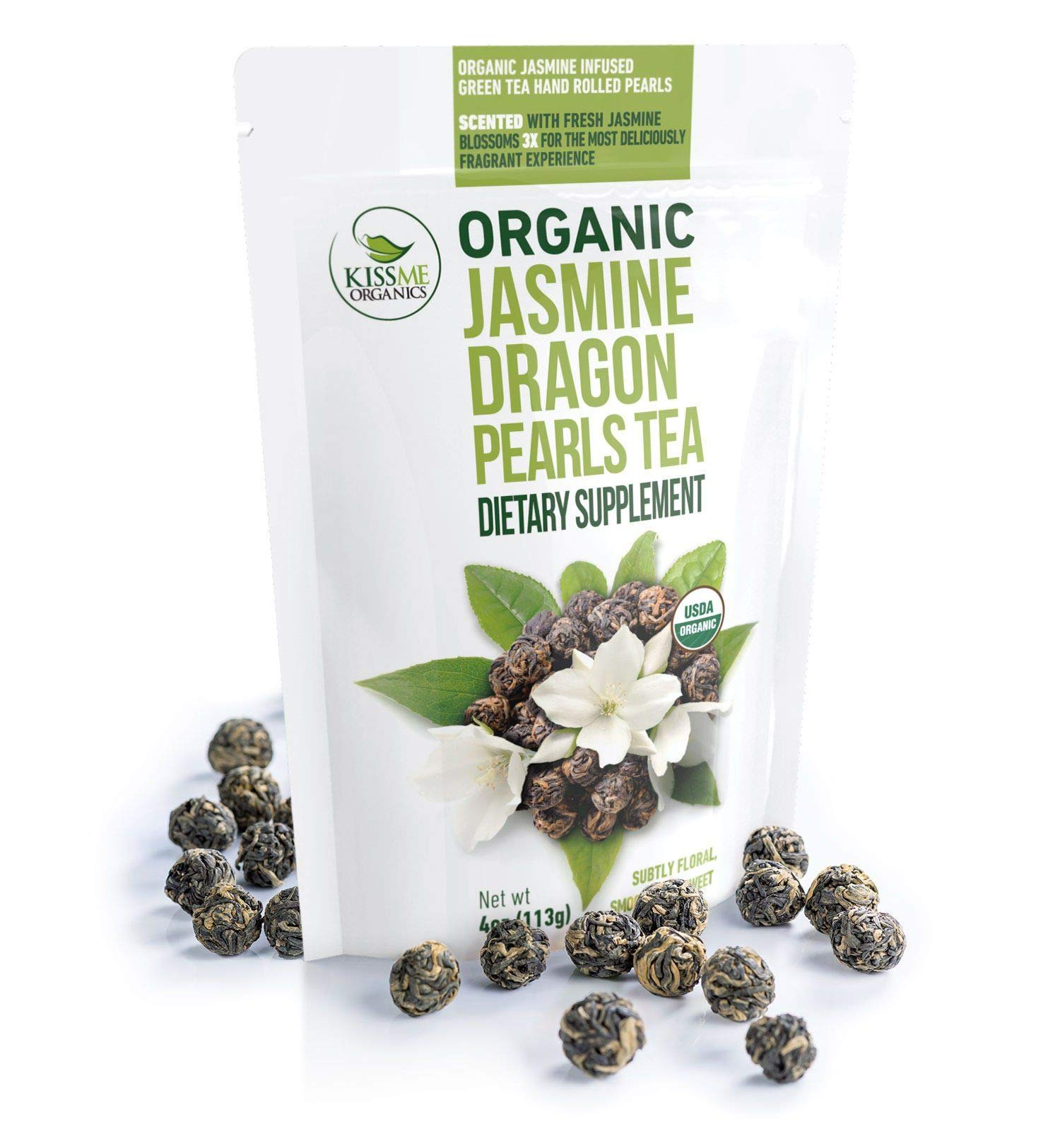 Jasmine Dragon Pearls Green Tea - Premium Flavor Organic Tea Jasmine Pearls Loose Leaf Tea Hand Rolled - 4 Ounces